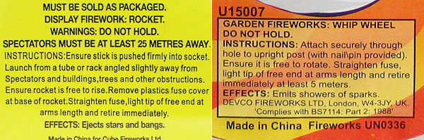 Category 2 and category 3 fireworks warning labels